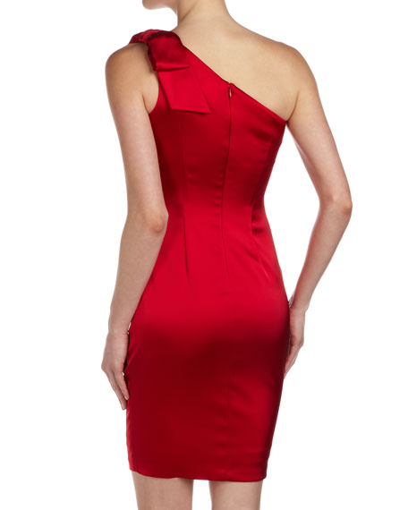 One-Shoulder Satin Cocktail Dress, Hibiscus