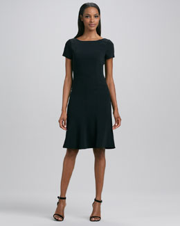 Elie Tahari Georgia Short-Sleeve Flounce Dress