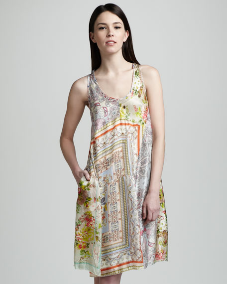 Mixed-Print Silk Tank Dress, Women's