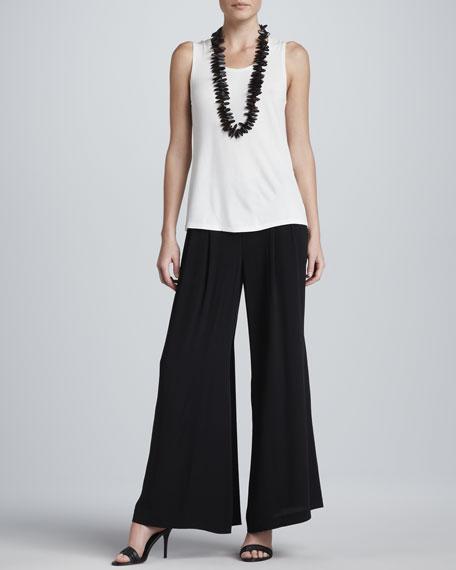 Silk Georgette Wide-Leg Pants, Women's