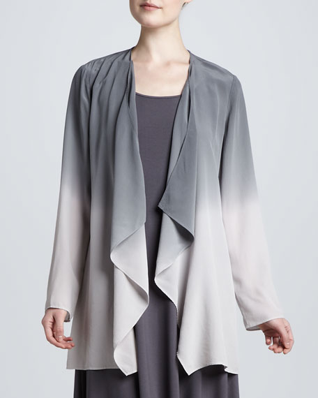 Ombre Draped Long Silk Jacket, Petite