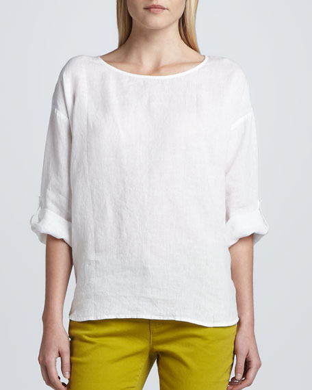 Rolled-Sleeve Linen Top, Petite