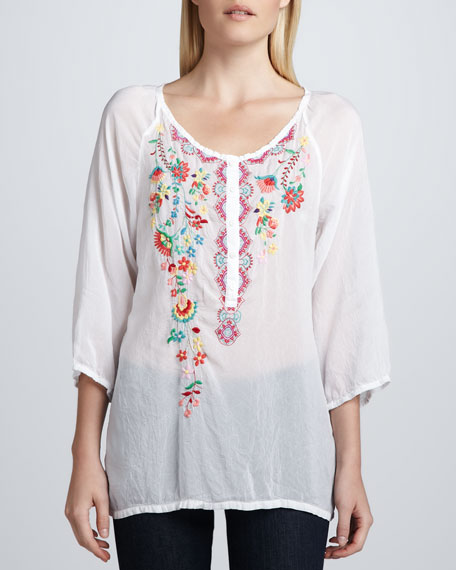 Embroidered Georgette Monet Blouse, Women's