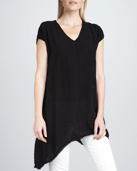 Asymmetric Georgette V-Neck Tunic, Women's