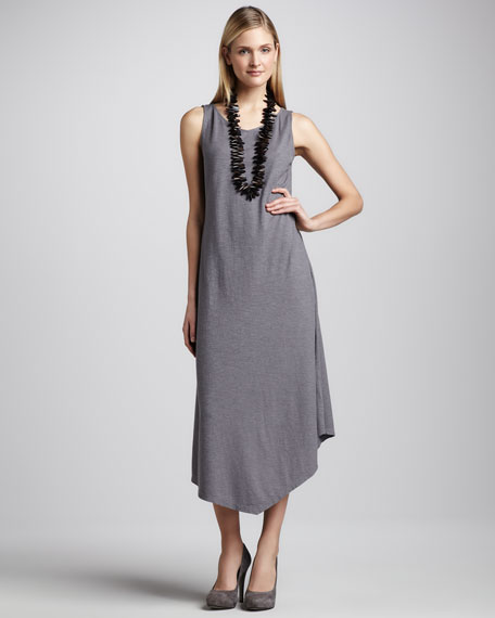 Handkerchief-Hem Slub Maxi Dress, Petite