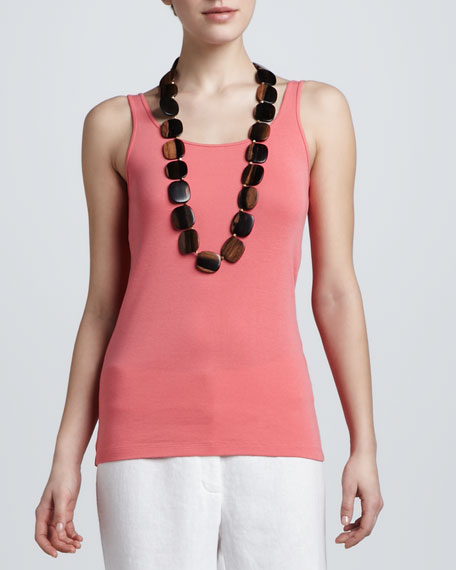 Organic-Cotton Long Tank Top, Petite