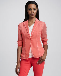 Elie Tahari Abby Snap-Button Sheer Jacket