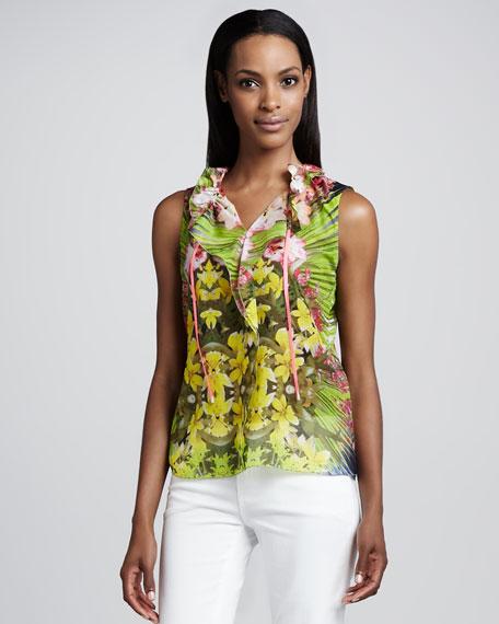 Selena Tropical-Print Ruffle Blouse