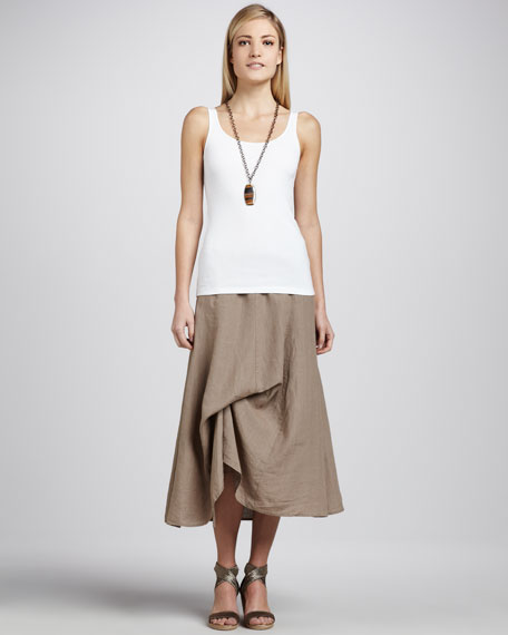 Handkerchief Linen Cinchable Long Skirt, Petite