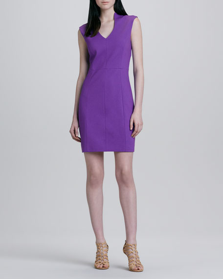Seamed Split-Neck Dress