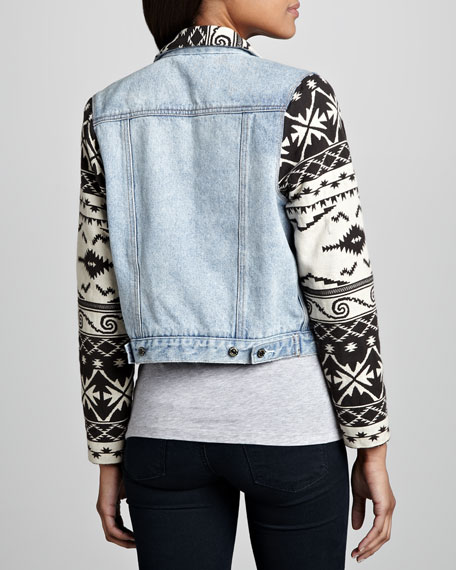 Tribal-Trim Denim Jacket