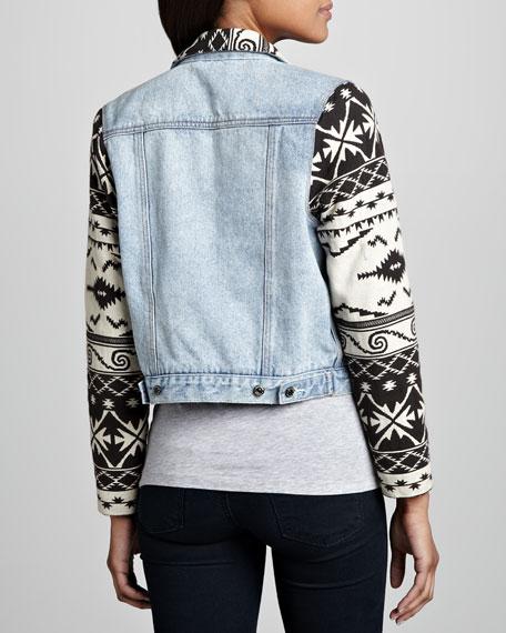 Tribal-Trim Denim Jacket