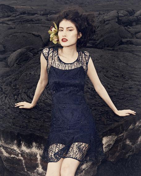 Sequined Applique Lace Cocktail Dress