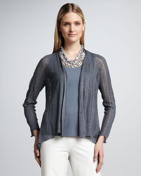 Silk-Linen Angled Cardigan, Petite