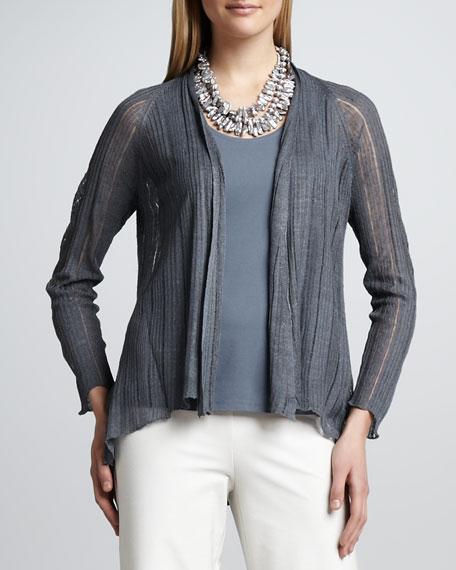 Silk-Linen Angled Cardigan, Women's