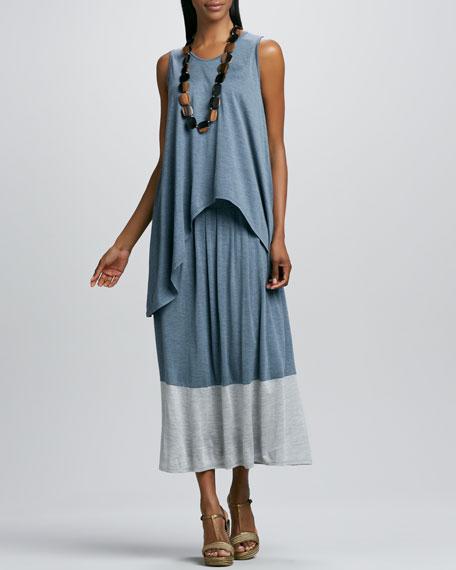 Long Colorblock Jersey Skirt, Petite