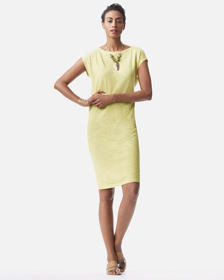 Cap-Sleeve Slub Dress, Petite