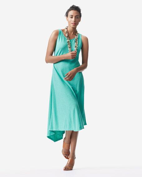 Slub V-Neck Handkerchief-Hem Dress, Women's