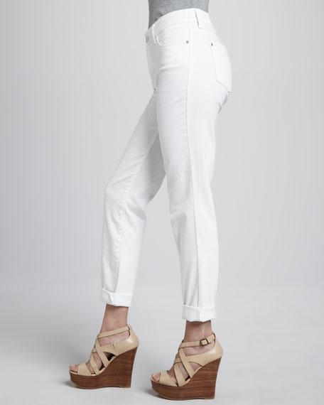 Tanya Boyfriend Rolled-Cuff Jeans, White