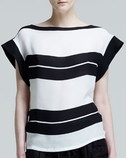 ALC Chavelli Striped Silk Top