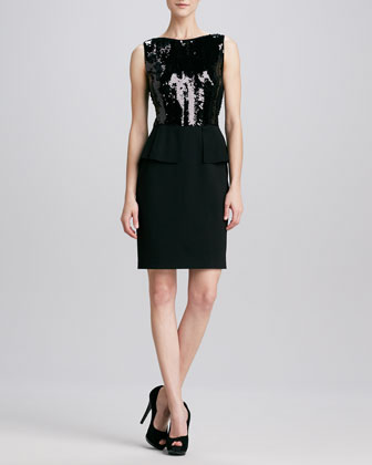 Jayden Sequin-Top Peplum Dress