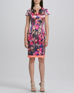 T Tahari Christina Printed Charmeuse Dress