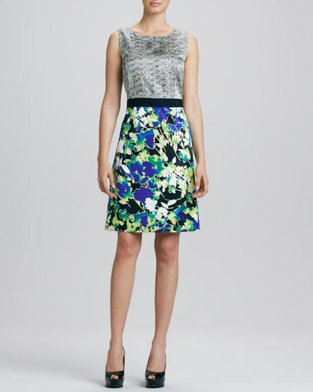 Anita Mix-Print Charmeuse Dress