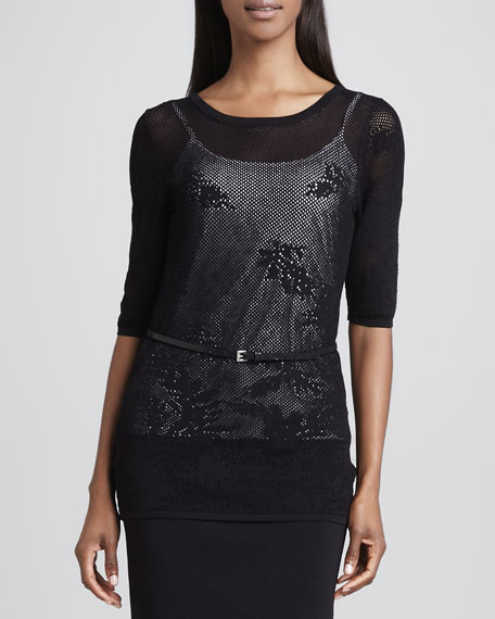 Sheer Lace Blouse, Black