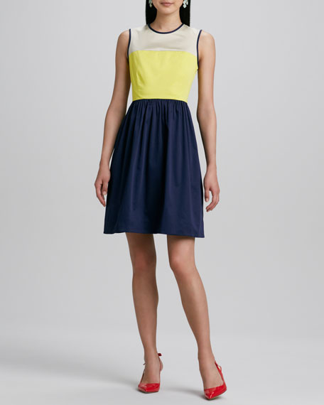 jerry colorblock stretch-cotton dress