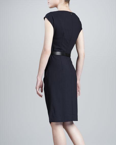 Draped Dress with Belt, Navy