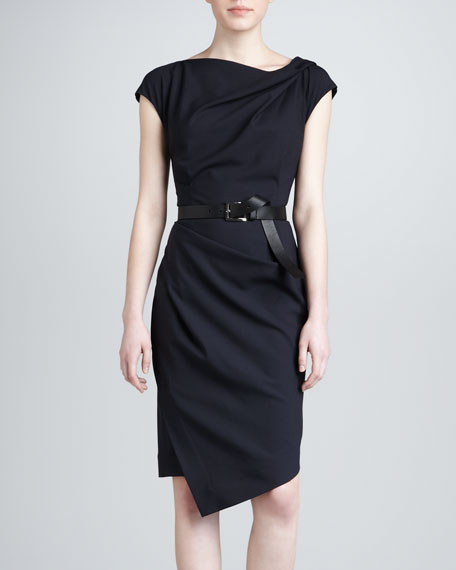 Draped Dress with Belt, Navy