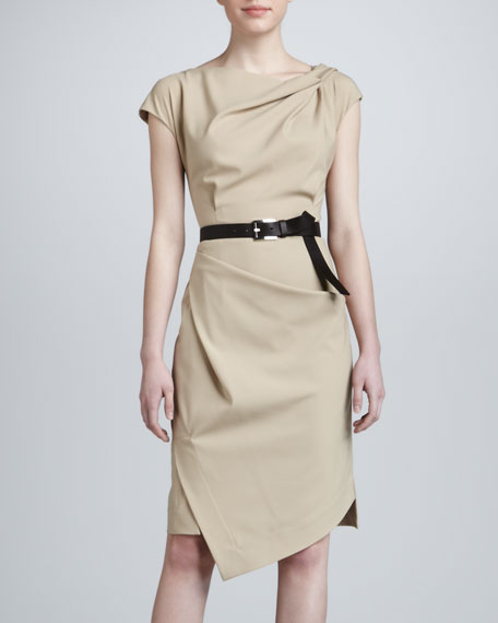 Draped Dress with Belt, Khaki