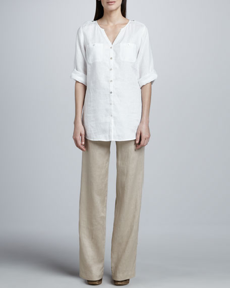 Unlined Linen Straight-Leg Pants, Petite