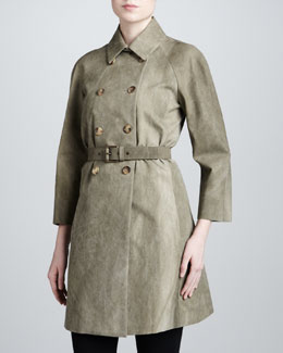 Michael Kors Double-Breasted Trench, Limestone