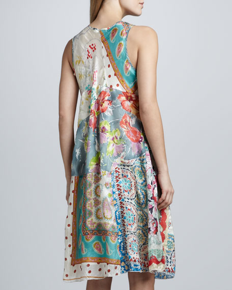 Paisley Patchwork Silk Dress, Women's