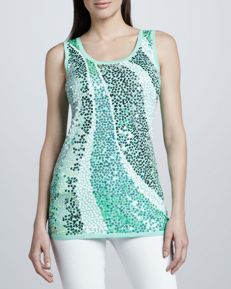 Mint Wavy Sequined Shell, Petite