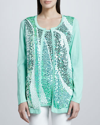 Mint Wavy Sequined Cardigan, Petite