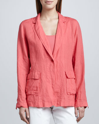 Handkerchief Linen Notch-Collar Jacket, Petite