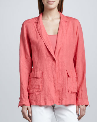 Handkerchief Linen Notch-Collar Jacket, Women's
