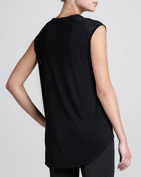 Sleeveless Crepe-Trim Henley