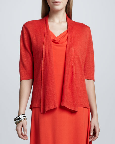 Cropped Lightweight Linen Cardigan, Petite