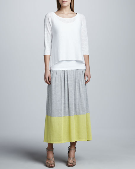 Long Colorblock Jersey Skirt, Petite