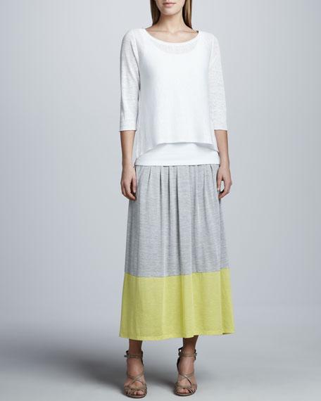 Long Colorblock Jersey Skirt, Women's