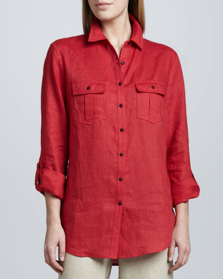 Two-Pocket Linen Easy Shirt, Petite