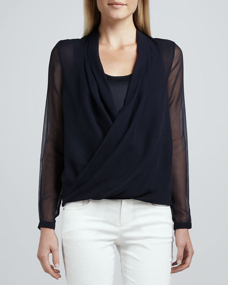 Francis Silk-Wrap Blouse