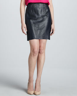 Elie Tahari Aurora Leather Perforated-Center Skirt