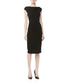 Michael Kors Jersey Twist-Draped Dress, Black