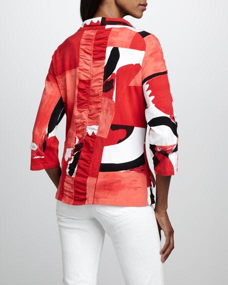 Graphic-Print Jacket, Petite