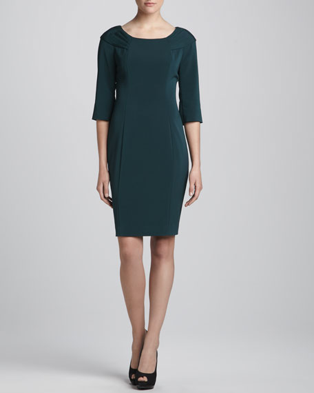 Misty 3/4-Sleeve Boat-Neck Dress