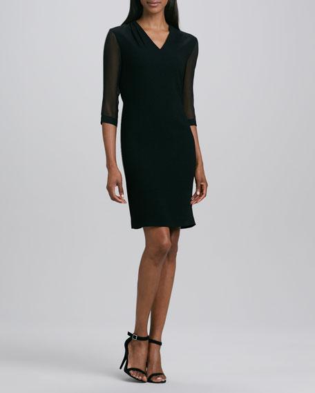 Gretchen Sheer-Sleeve Dress